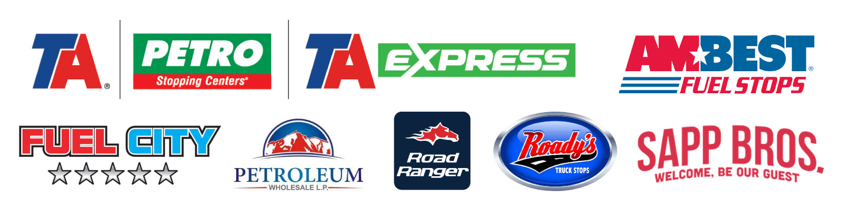Fuel Card Truck Stop Partners | TA and Petro Stopping Centers, TA Express, Ambest Fuel Stops, Petroleum Wholesale L.P., Road Ranger, Roady's and Sapp Bros.