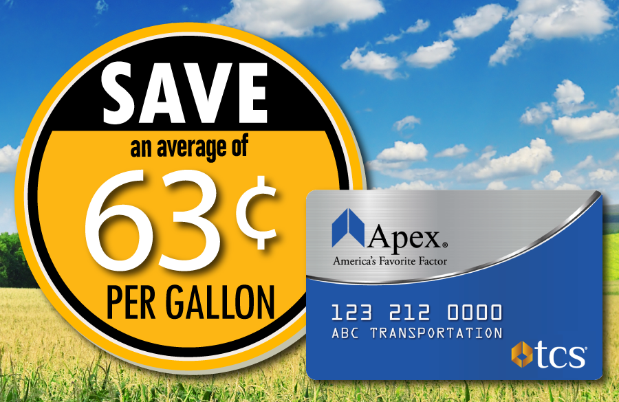 Save 63 cents at the pump with the Apex fuel card
