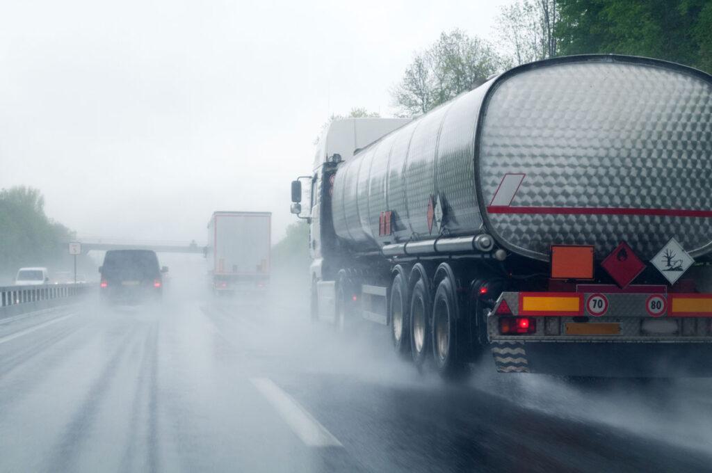 Semi Driving in the Rain