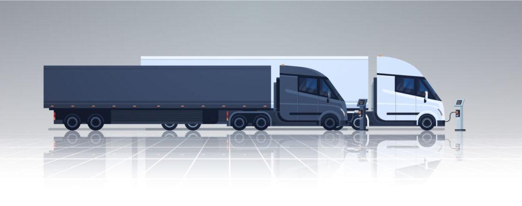 Electric Semi Trucks Illustration