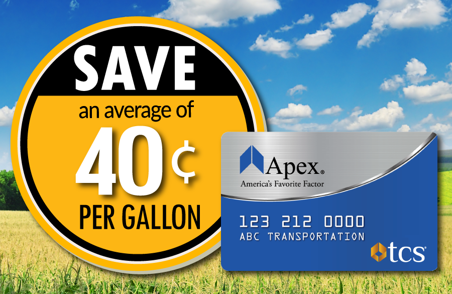 Save 40 cents at the pump with the Apex fuel card